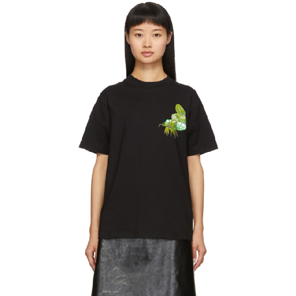 Off-white Graphic-print Stretch-cotton-jersey T-shirt In Black/green