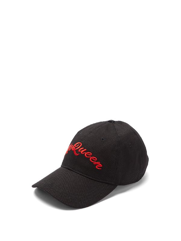 Alexander Mcqueen Logo-embroidered Cotton-twill Baseball Cap In Black