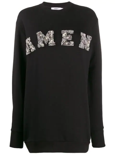 Amen Long Embellished Sweater In Black