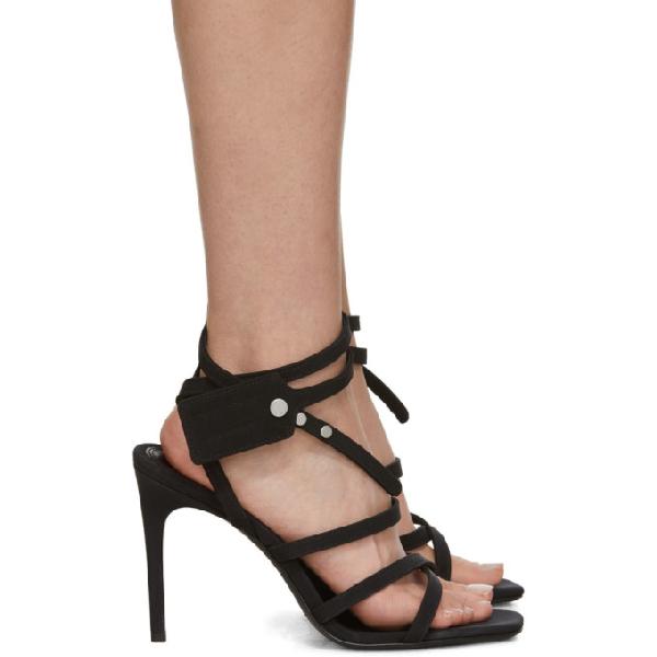 Off-white Zip-tie Satin Stiletto Sandals In Black