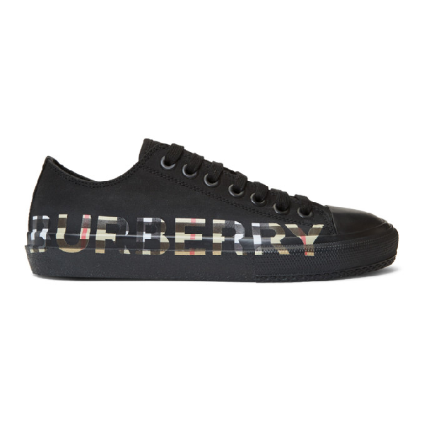 Burberry Men's Larkhall Low-top Sneakers With Vintage Check Logo In Black