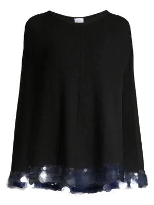 Carolyn Rowan Paillette Cashmere Cape In Black