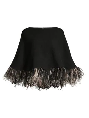 Carolyn Rowan Feather-trim Cashmere Poncho In Black