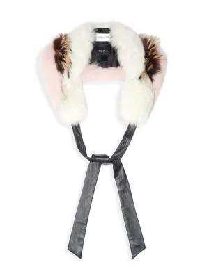 Demarson Karina Leather-trimmed Tri-tone Fox Fur Stole In Stone Caramel Rose