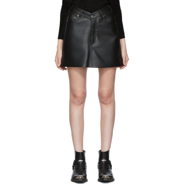 Balenciaga V-waist Grained-leather Mini Skirt In Black