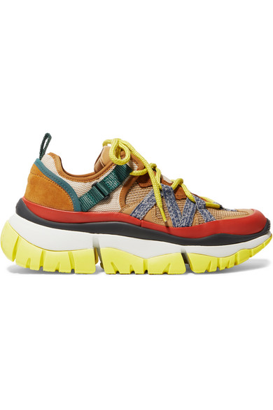 ChloÉ Blake Mesh, Leather And Suede Platform Sneakers In 96O Beige/Orange
