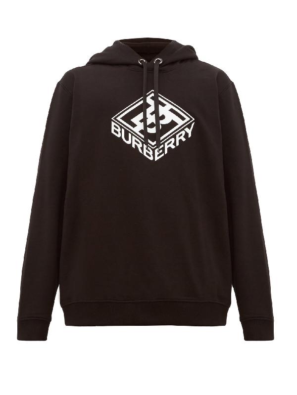 Burberry Ellison Logo-print Loopback Cotton-jersey Hoodie In Black