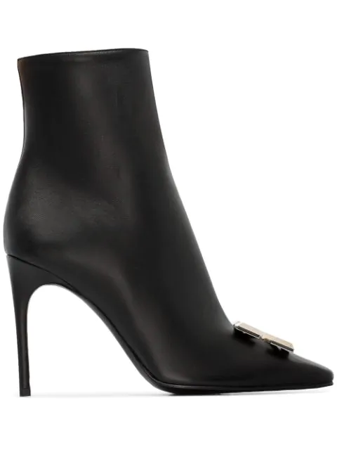 Off-white Arrow High Heels Ankle Boots In Black Leather In Black No Color