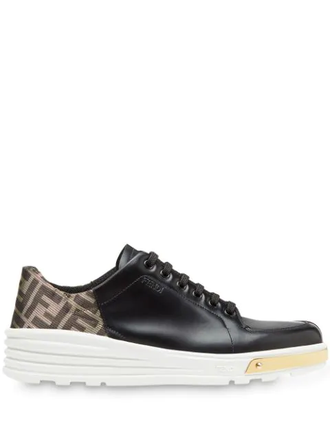 Fendi Low Top Lace-up Running Sneakers In Black