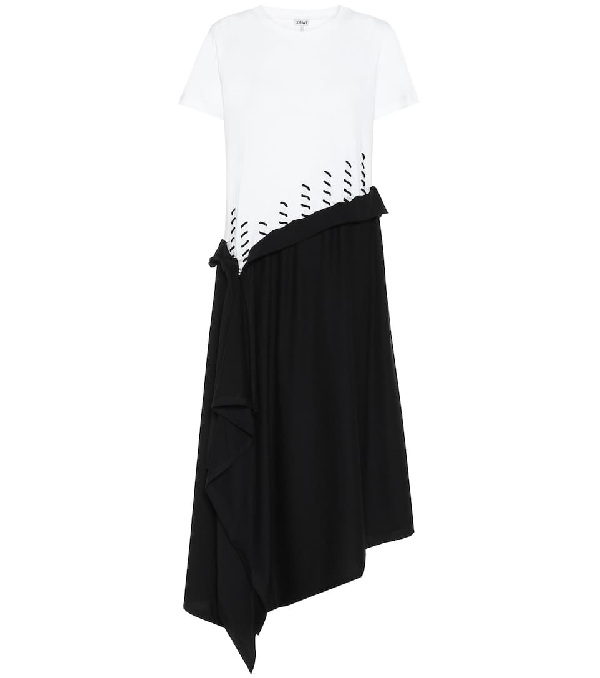 Loewe Asymmetric Two-tone Cotton-jersey Midi Dress In Black