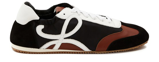 Loewe Logo Nylon, Suede And Leather Low-top Trainers In 8916 Black/