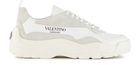 Valentino Garavani Gumboy Suede-Trimmed Leather Sneakers In Bianco