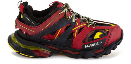 "Balenciaga Red, Black And Yellow "" Track"" Sneaker In Burgundy"