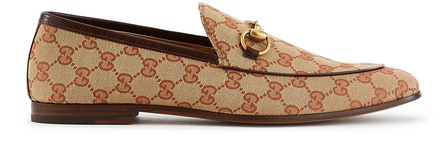 Gucci Jordaan Horsebit Leather-Trimmed Monogrammed Canvas Loafers In Beige