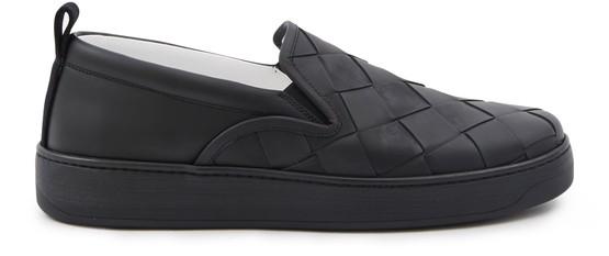 Bottega Veneta Dodger Intrecciato Leather Slip-on Sneakers In Black