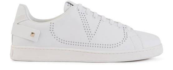Valentino Garavani Garavani Backnet Perforated Leather Sneakers In White