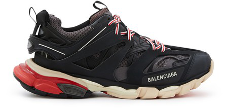 Balenciaga Low-Top Sneakers Track Fabric Mix Logo Black Grey Red In Dark Gray