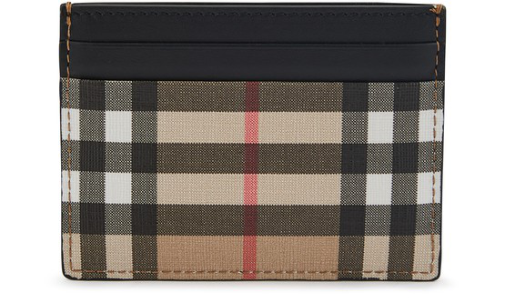 Burberry Men's Genuine Leather Credit Card Case Holder Wallet Sandon In Archive Bei