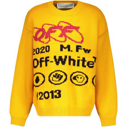 Off-White Industrial Y013 Intarsia Wool-Blend Sweater In Yellow/Black