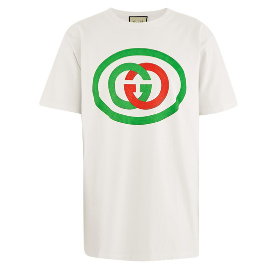 Gucci White Unisex Oversized T-shirt With Gg Print In Milk/green