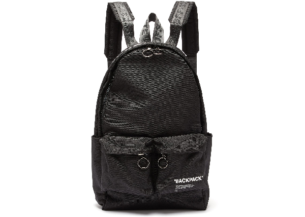 Off-white Quote Backpack Canvas Black White