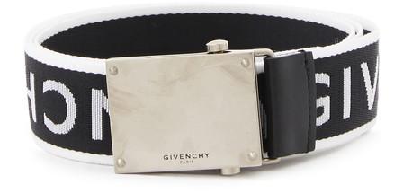 Givenchy 3.5cm Leather-trimmed Logo-jacquard Webbing Belt In Black ,white