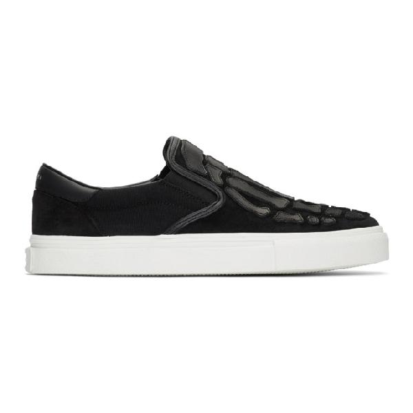 Amiri Skeleton Toe Canvas Slip-on Sneakers In Blackblack