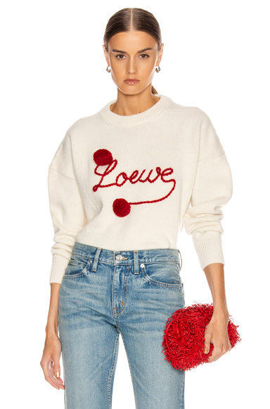 Loewe Brand-Embroidered Relaxed-Fit Wool Jumper In White