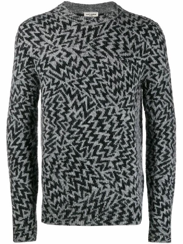 Saint Laurent Saint Lurent Long Wool Cardigan In A Comics Jacquard In Grey