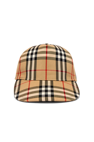 Burberry Leather-Trimmed Checked Cotton-Blend Canvas Baseball Cap In Archive Beige