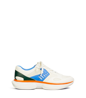 Tory Sport Bubble Sneakers In White/aerial/conifer/vibrant Orange