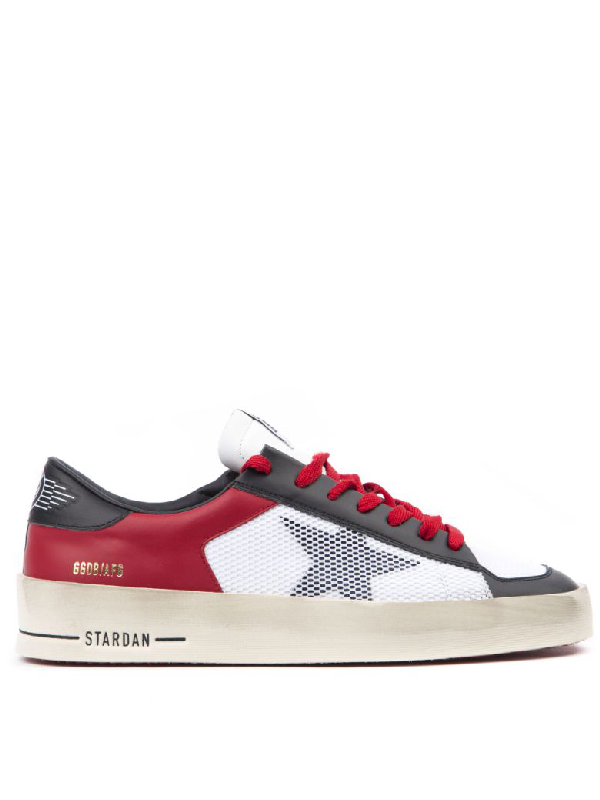 Golden Goose Stardan Black, White, Red Leather Sneaker In Red/White/Back