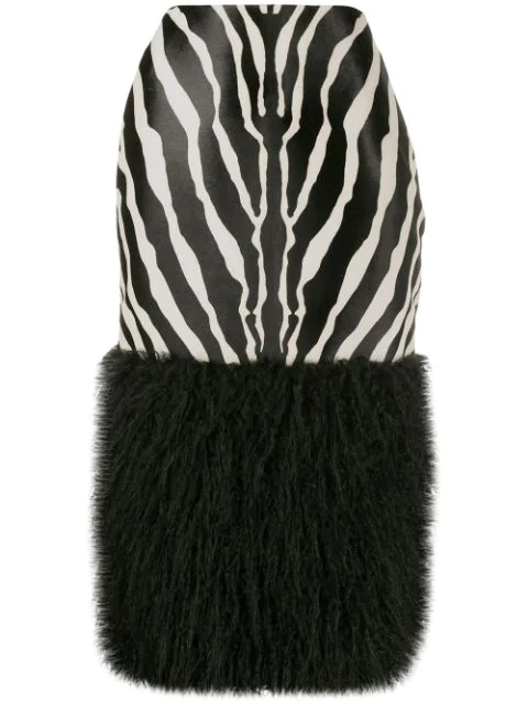 Saint Laurent Zebra-Print Calf Hair Fur-Trim Midi Skirt In 1090 - Black/White