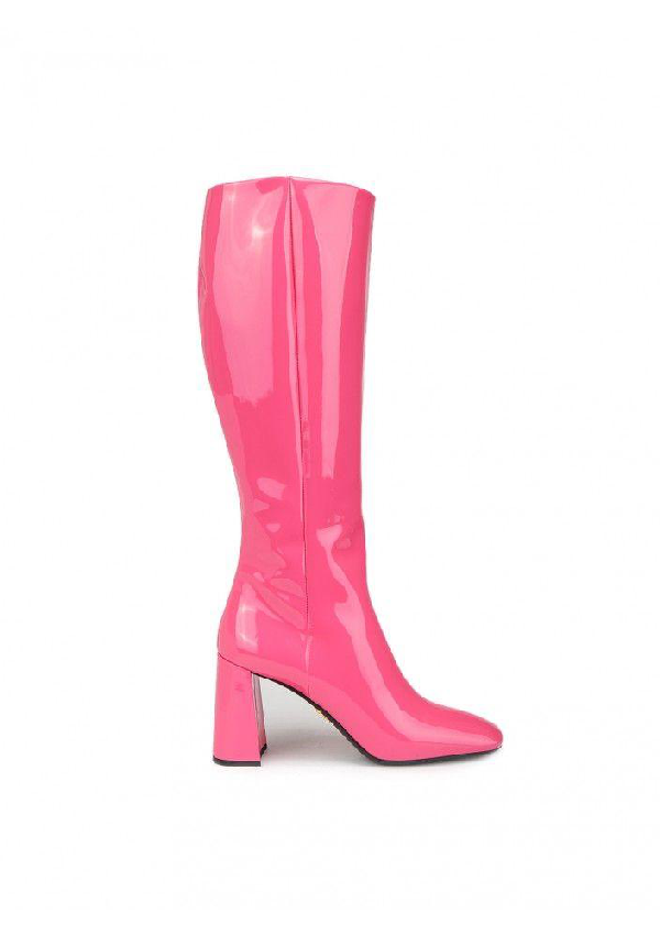 Prada Patent Leather Boots In F0029 Fuxia
