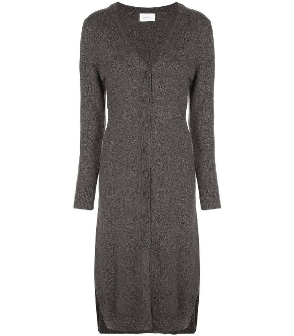 Alexandra Golovanoff Grey V-neck Knit Dress