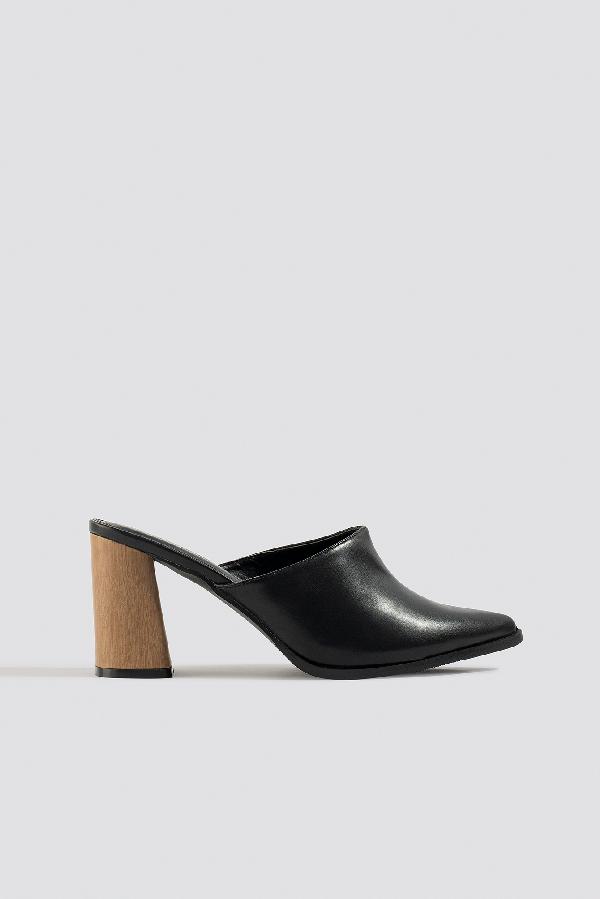 Na-kd Wooden Heel Mules - Black