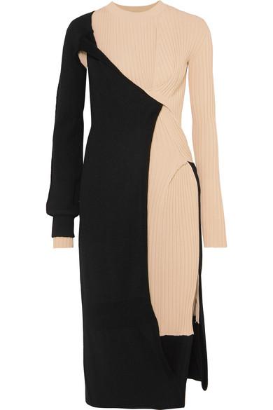 Bottega Veneta Two-tone Ribbed Stretch-knit Knee-length Dress In Black