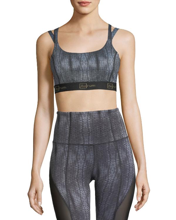 Aurum Double-Strap Sports Bra In Dark Gray