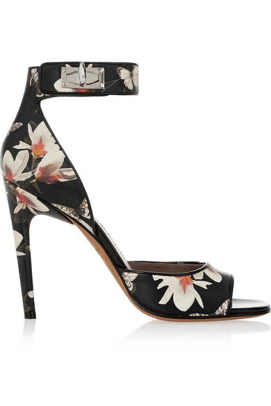 Givenchy Woman Shark Lock Sandals In Magnolia-Print Leather Black