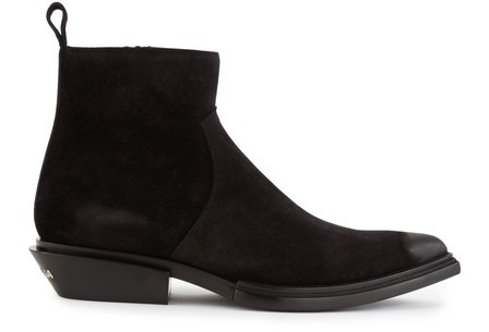 Balenciaga Santiag Suede Heeled Ankle Boots In 1000