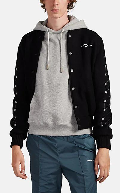 Off-White Printed Virgin Wool-Blend Bomber Jacket In Black