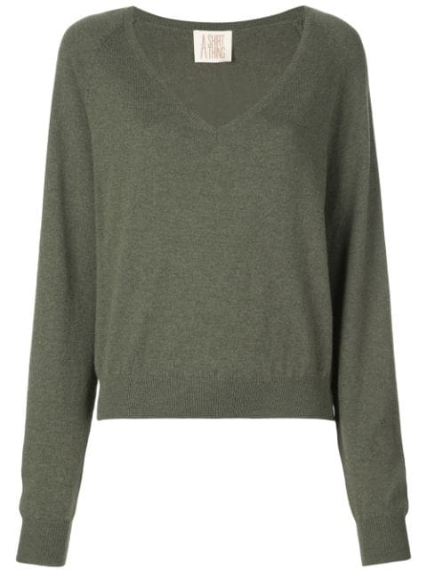 A Shirt Thing V Neck Jumper In Green