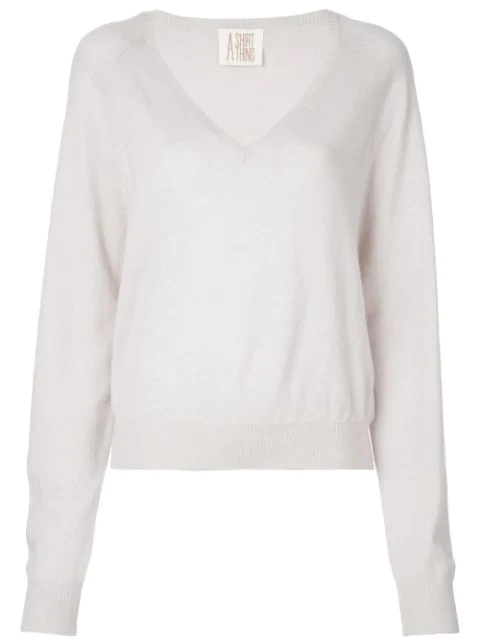 A Shirt Thing V Neck Jumper In Grey