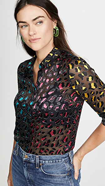 Alice And Olivia Willa Abstract Leopard Print Burnout Silk Blend Blouse In Abstract Leopard Teal/combo