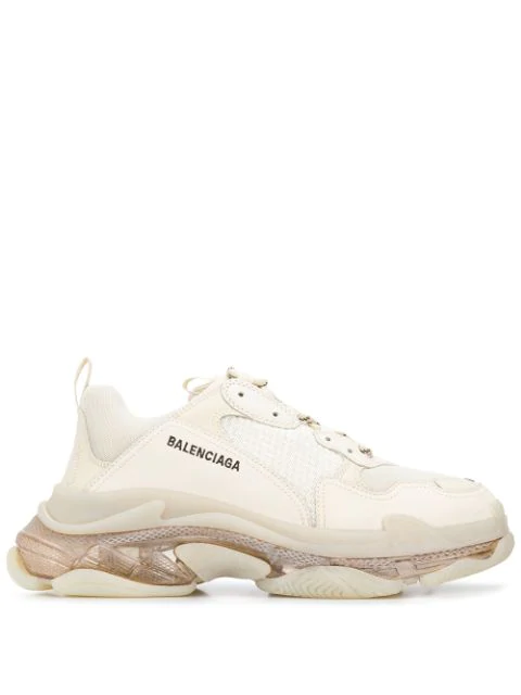 Balenciaga Triple S Clear Sole Mesh, Nubuck And Leather Sneakers In Neutrals