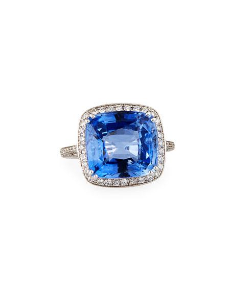 Alexander Laut 18K White Gold Blue Sapphire Cushion Ring W/ Diamonds