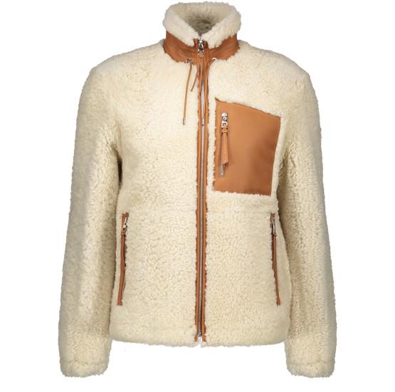 Loewe Shearling Jacket W/ Leather Details In Neutrals
