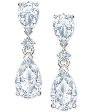 Swarovski Silver-tone Crystal Drop Earrings In White