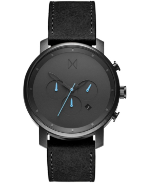 Mvmt The Chrono Chronograph Leather Strap Watch, 45mm In Black