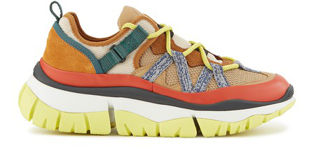 ChloÉ Women's Blake Mixed Platform Low-Top Sneakers In Beige - Orange 1